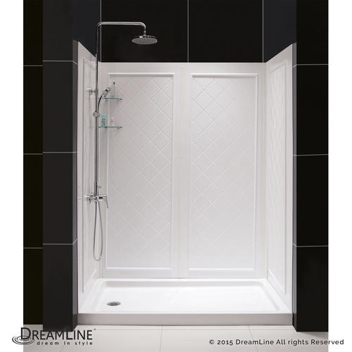 DreamLine Visions Frameless Sliding Shower Door  36 in  by 60 in  Single  Threshold Shower Base Right Hand Drain and QWALL 5 Shower Backwall Kit at  Menards. DreamLine Visions Frameless Sliding Shower Door  36 in  by 60 in