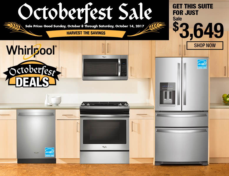 Get this Whirlpool suite for just $3649.  Includes Dishwasher, Oven Microwave and refrigerator 455-8154, 455-0033, 451-5539, 453-0146