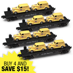 train stuff at menards®4 piece o gauge flatcar with two union pacific panel trucks