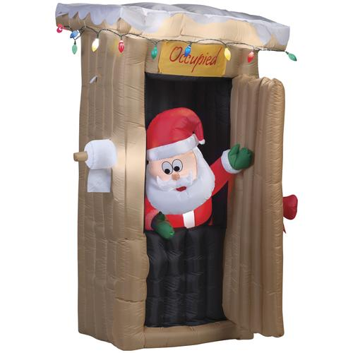 Christmas Inflatables Clearance.Enchanted Forest Airblown 6 Animated Santa And Outhouse