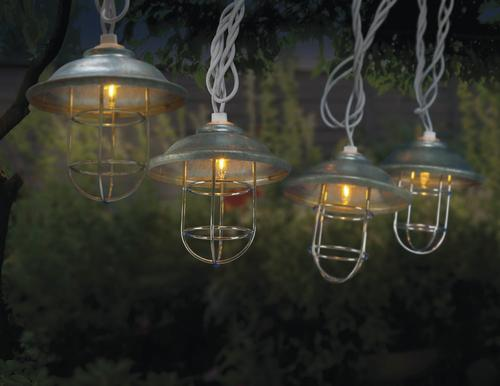 Enchanted Garden 10 Light Battery Operated Metal Fisher Lantern Set
