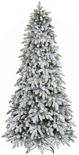 Enchanted Forest® 7.5' Prelit LED Flocked Aspen Artificial Christmas ...