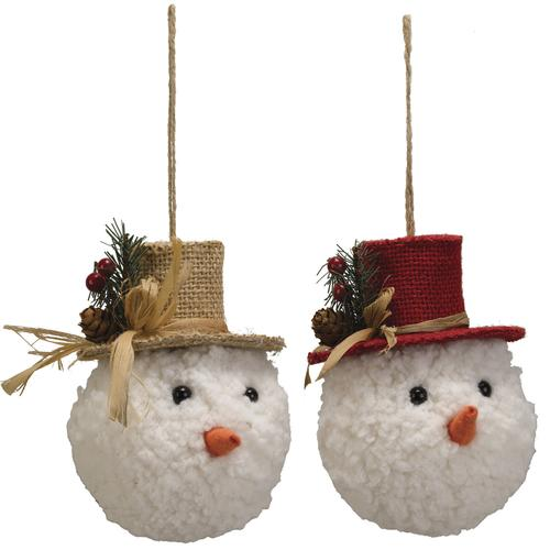 Christmas Top Hat Ornaments.Enchanted Forest Snowman Head With Top Hat Ornament