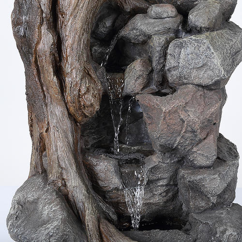 Wood And Rock Outdoor Water Fountain