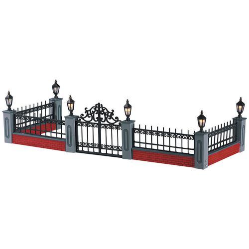 decorative interior wrought iron railing wrought iron.htm lemax   prelit wrought iron fence village accessory at menards    lemax   prelit wrought iron fence