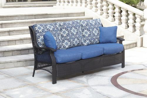 Backyard Creations Allenwood Deep Seating Patio Sofa In Blue