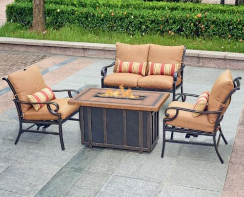 backyard creations palm bay 4 piece fire pit patio set at menards - Fire Pit Patio Set
