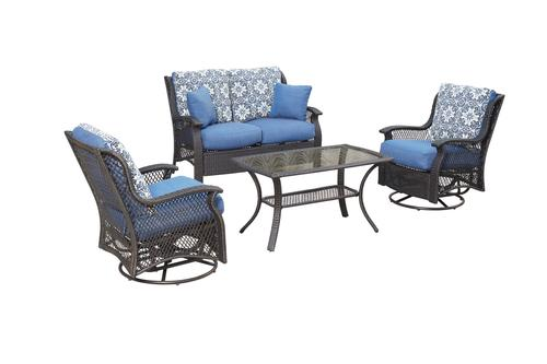 Blue Patio Furniture Sets.Backyard Creations Allenwood Collection 4 Piece Seating Patio Set