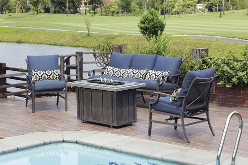 Backyard Creations Riverside Collection 4 Piece Fire Patio Set At
