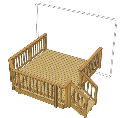Blueprints For Patio Decks: 10' X 12' Attached Single Level Deck With Angled Corner At