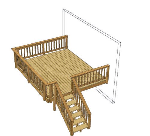 14 X 12 Attached Single Level Deck Material List At Menards