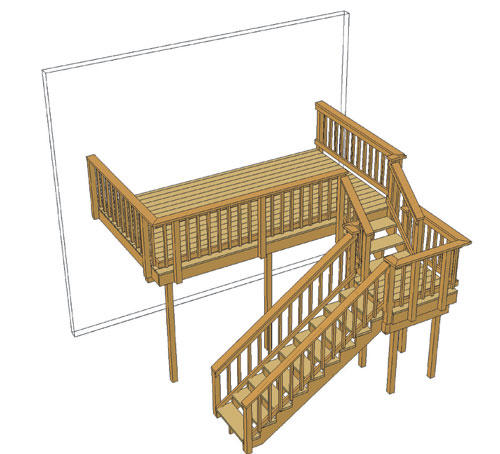 14 X 8 Attached Deck With Stair Landing And Architectural Spindles At Menards