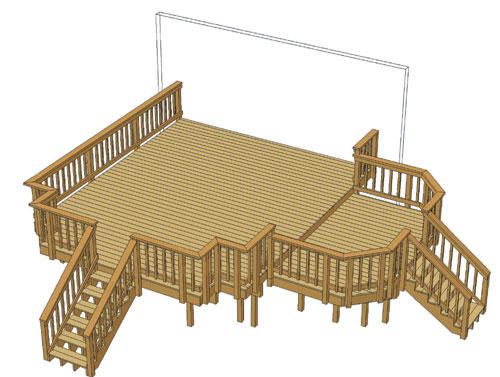 16 X 20 Attached Main Deck With 7 12 Step Down Area