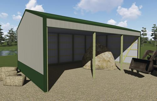 24 W X 40 L X 13 H Loafing Shed Post Frame Building Material