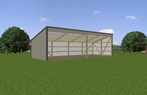 13'W x 36'L x 7'H Open Sided Shed Post Frame Building