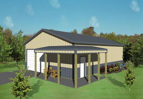 30W X 45L 10H Agricultural Post Frame Building With 6 Porch At MenardsR