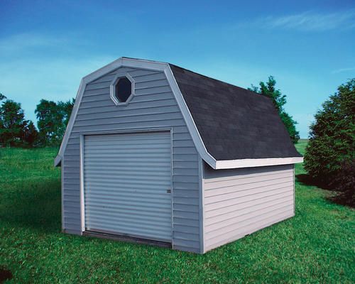 midwest manufacturing ez build 10w x 12d gambrel shed at menards