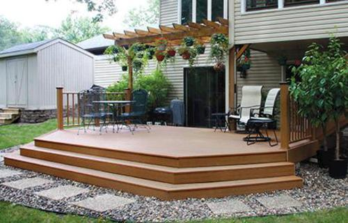 20 X 12 Attached Elevated Patio Deck With Wide Stairs At