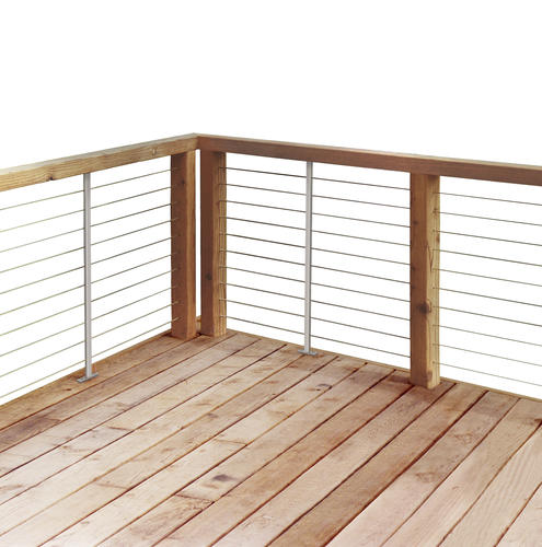 18' Cable Rail Railing Section w/CedarTone Treated Post at