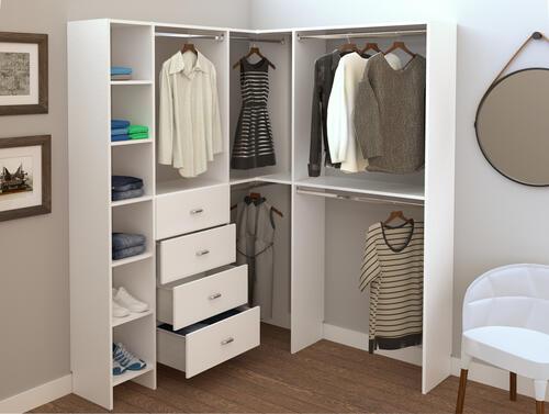 Dakota Closets 63 1 8 W X 86 1 2 H White Corner Walk In Wooden Closet System At Menards