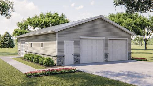GARAGE PLAN 3 Car Garage with Storage with Materials Guide Pick Size