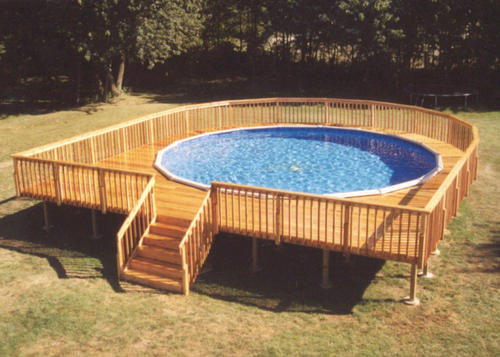 Round Pool Deck Designs | 34 X 37 Walk Around Pool Deck For A 27 Pool At Menards