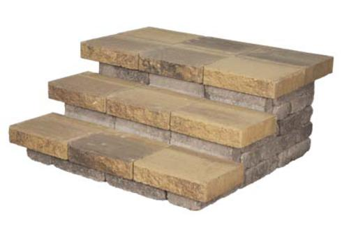 """Three Step Landscape Block Stairs Project Material List 1' 9"""" x 4' x 3' 8"""""""