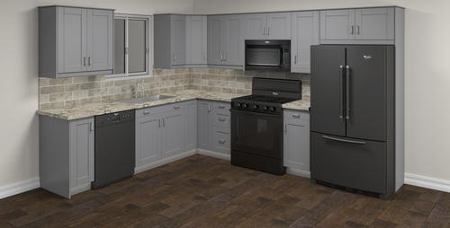 Klearvue Cabinetry Stromma Gray L Shaped Kitchen Cabinets Only At Menards