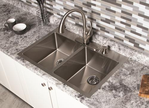 Franke Stainless Steel Kitchen Sink With Delta Pull Down Kitchen Faucet In Stainless Steel At Menards