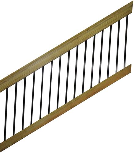 6' Treated Wood & Aluminum Spindle Stair Railing Section ...