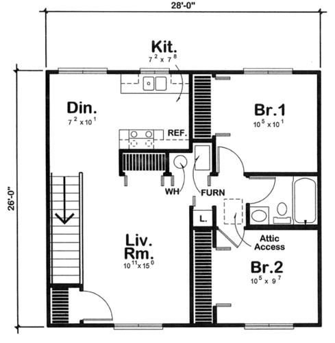 26 x 28 x 8 2Car GarageApartment at Menards – Menards Garages Plans