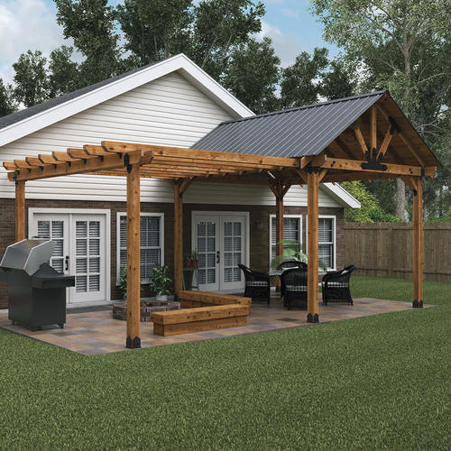 Pergola Off Of An Existing Covered Porch: OZCO Covered Patio And Pergola Patio Project #338 At Menards®