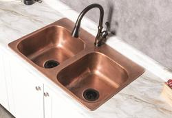 Sinkology Riley Copper Kitchen Sink With Delta Arabella Pull
