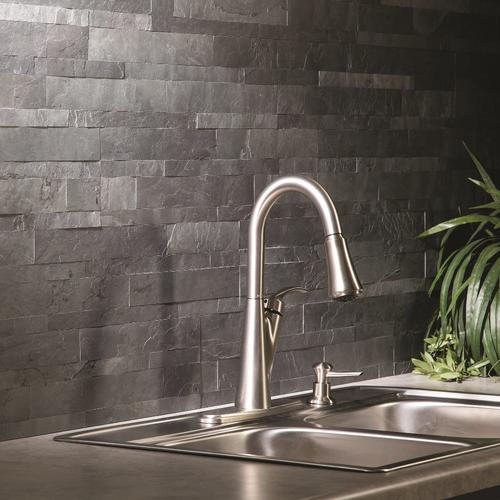 Aspect 5 9 X 23 6 L And Stick Stone Tile Backsplash In Charcoal Slate