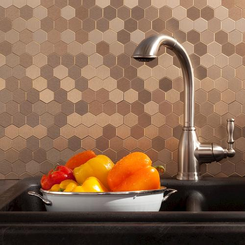 "aspect™ 11"" x 4"" peel and stick metal matted honeycomb backsplash"