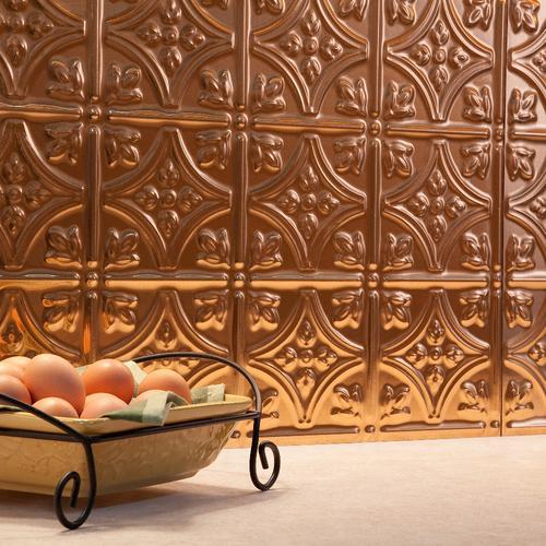 Fasade Traditional 1 18 X 24 Vinyl Tile Backsplash In Polished Copper At Menards