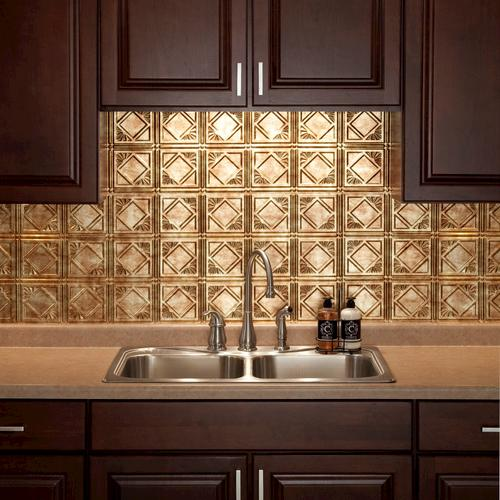 "fasade® traditional 4 - 18"" x 24"" vinyl tile backsplash in bermuda"