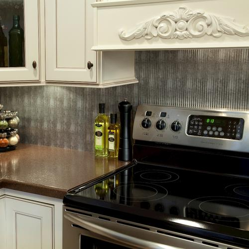 Fasade Rib 18 X 24 Vinyl Tile Backsplash In Crosshatch Silver