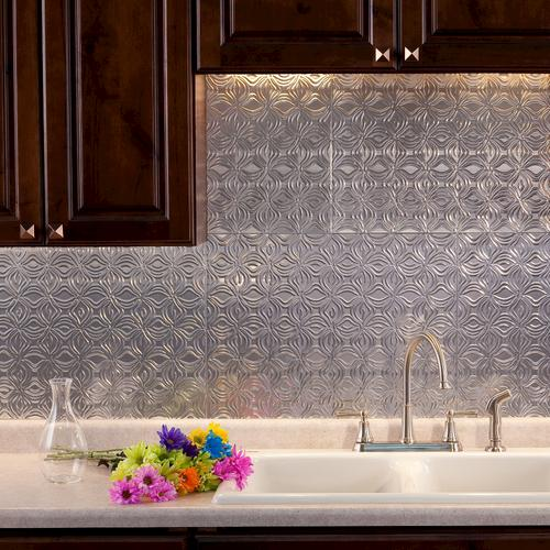 Miraculous Fasade Lotus 18 X 24 Vinyl Tile Backsplash In Brushed Download Free Architecture Designs Salvmadebymaigaardcom