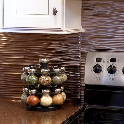 """Fasade® Waves - 18"""" x 24"""" PVC Backsplash Panel at Menards®"""