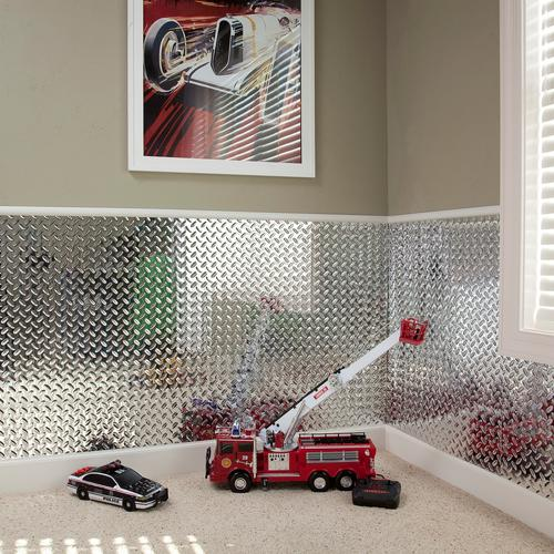 Fasade® Chrome Diamond Plate Vinyl Wall Panel - 4 x 8 at Menards®