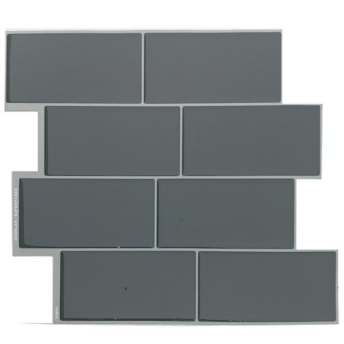Tack Tile L Stick Vinyl Backsplash Subway Grey