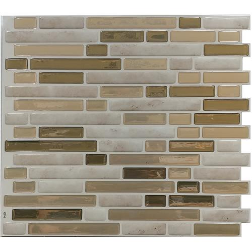 Tack Tile L Stick Vinyl Backsplash Small Mosaic Brown