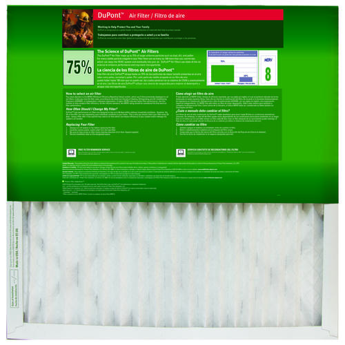 dupont® allergen basic 7500 pleated replacement air filter merv 8 at ...