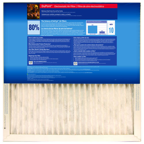 dupont® allergen plus 8000 pleated replacement air filter merv 10 at ...