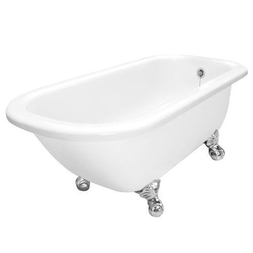 "American Bath Factory Maverick 67"" W x 30"" D White Bathtub - No Faucet Holes"