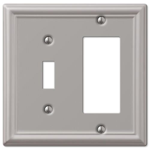 Chelsea Brushed Nickel Stamped Steel 1 Toggle 1 Rocker Wall Plate At