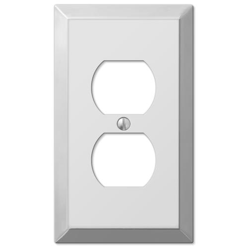Century Polished Chrome Stamped Steel 1 Gang Duplex Outlet Wall Plate At Menards