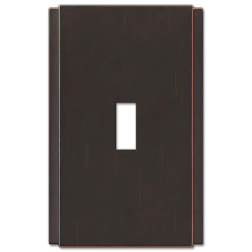 Zen Screwless Aged Bronze Cast Metal 1 Toggle Wall Plate