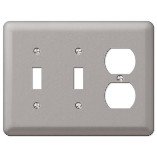 Devon Brushed Nickel Stamped Steel 2 Toggle 1 Duplex Wall Plate At